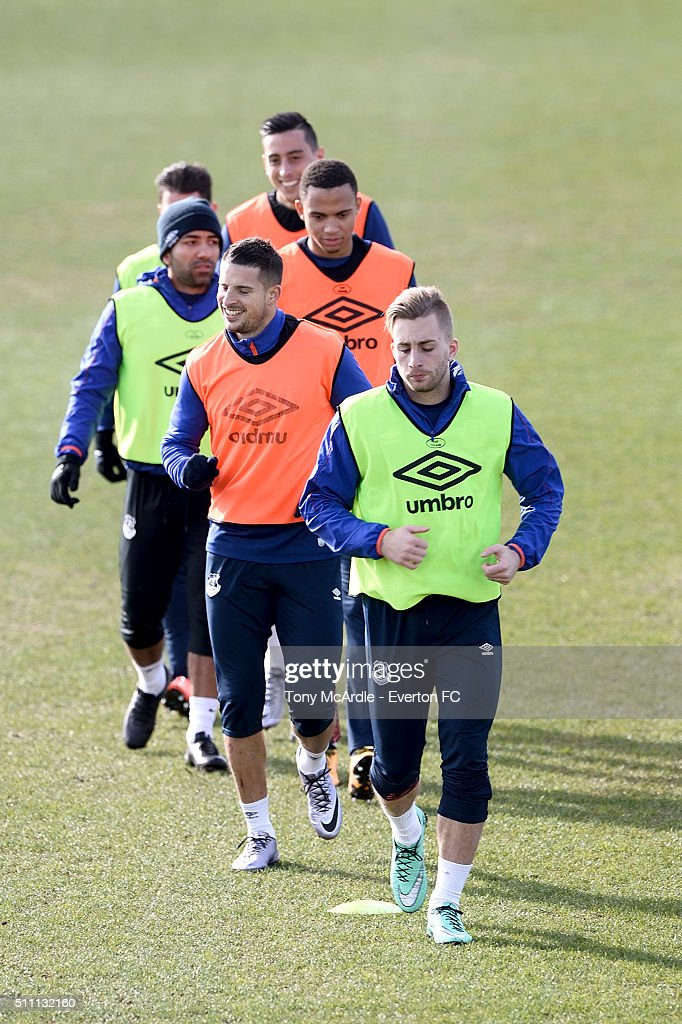 Gerard Deulofeu (F) and team mates during the Everton training session at Finch Farm on February 18, 2016 in Halewood, England.