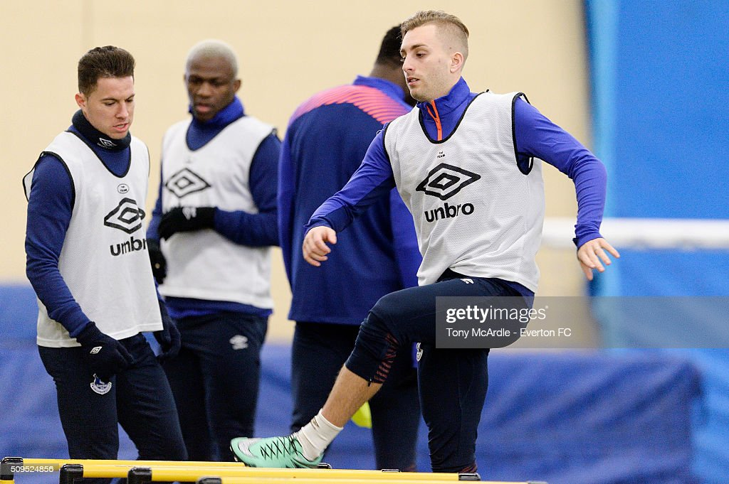 Gerard Deulofeu during the Everton training session at Finch Farm on February 11, 2016 in Halewood, England.