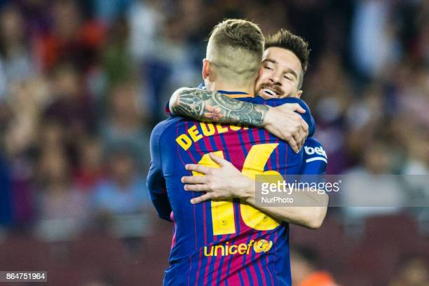 Gerard Deulofeu from Spain of FC Barcelona celebrating his goal with Leo Messi from Argentina of FC Barcelona during the La Liga match between FC...