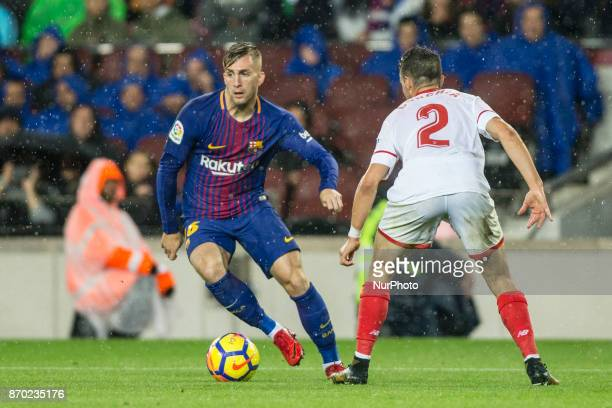 Gerard Deulofeu from Spain of FC Barcelona during the La Liga match between FC Barcelona v Sevilla at Camp Nou Stadium on November 04 2017 in...