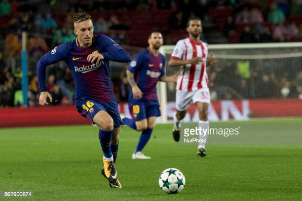 Gerard Deulofeu in action during the UEFA Champions League match between FC Barcelona and Olympiacos FC in Barcelona on October 19 2017