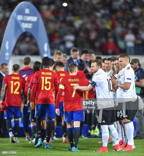 Gerard Deulofeu Maximilian Arnold after the UEFA European Under21 final match between Germany and Spain on June 30 2017 in Krakow Poland