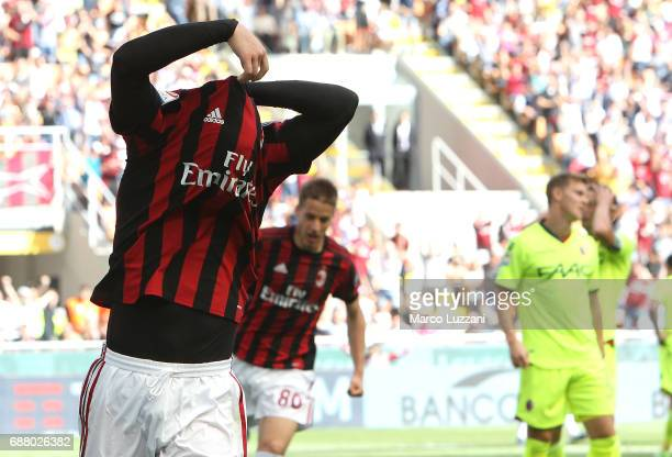 Gerard Deulofeu of AC Milan celebrates after scoring the opening goal during the Serie A match between AC Milan and Bologna FC at Stadio Giuseppe...