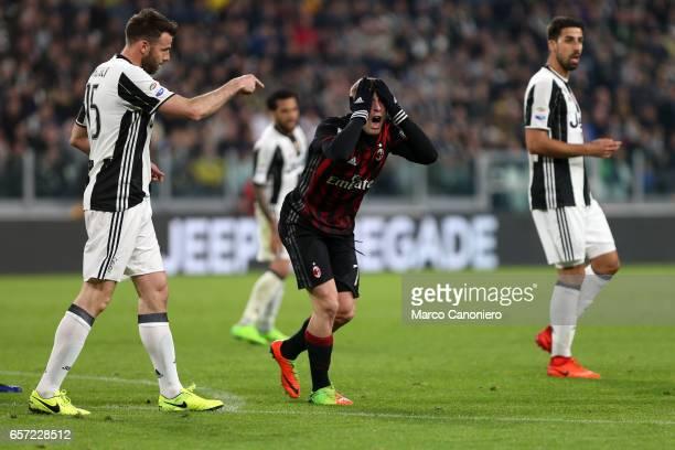 Gerard Deulofeu of Ac Milan despairs during the Serie A football match between Juventus FC and Ac Milan at Juventus Stadium Juventus FC wins 21 over...