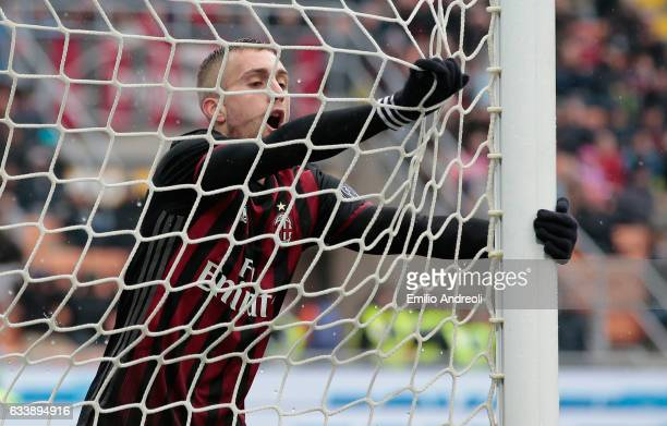 Gerard Deulofeu of AC Milan reacts during the Serie A match between AC Milan and UC Sampdoria at Stadio Giuseppe Meazza on February 5 2017 in Milan...