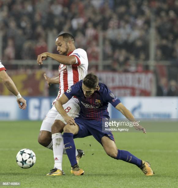 Gerard Deulofeu of Barcelona in action against Vadis Odjidja of Olympiakos during a UEFA Champions League match between Olympiakos and Barcelona at...