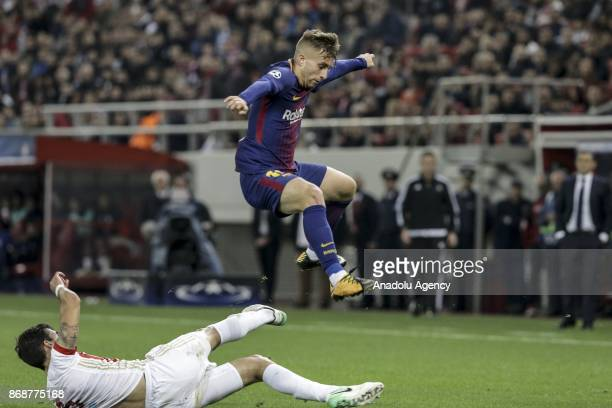 Gerard Deulofeu of Barcelona in action during a UEFA Champions League match between Olympiakos and Barcelona at the Giorgos Karaiskakis stadium in...