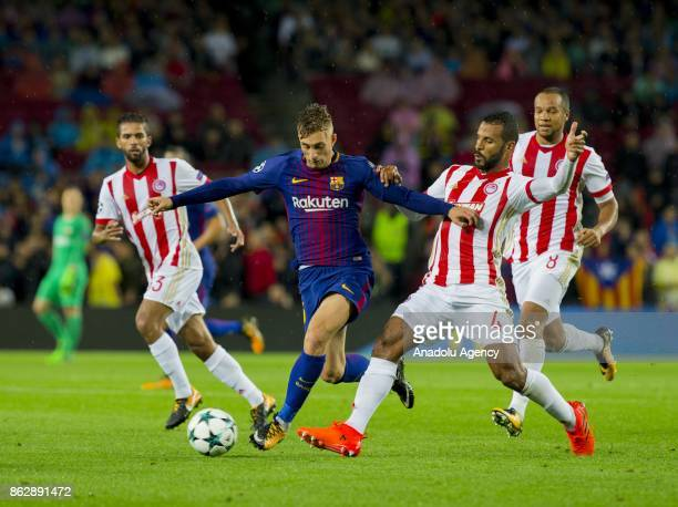 Gerard Deulofeu of Barcelona in action during the UEFA Champions League Group D soccer match between Barcelona and Olympiacos at Camp Nou in...