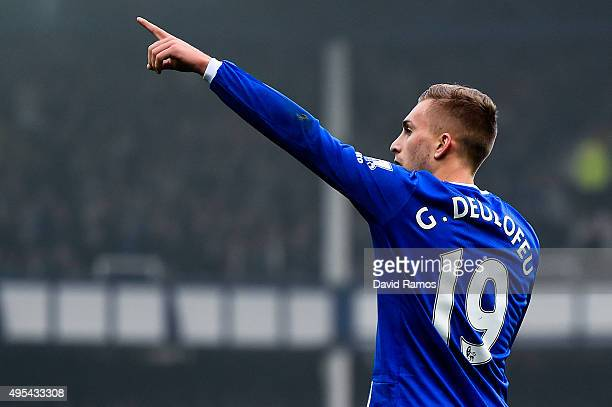 Gerard Deulofeu of Everton celebrates after scoring the opening goal during the Barclays Premier League match between Everton and Sunderland at...