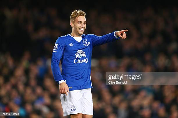 Gerard Deulofeu of Everton celebrates scoring his team's third goal during the Barclays Premier League match between Everton and Stoke City at...