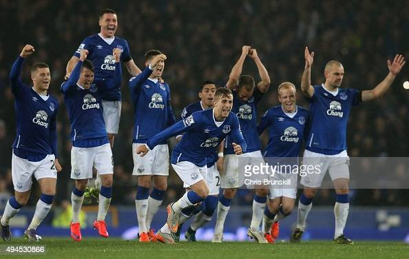 Gerard Deulofeu of Everton celebrates winning the penalty shoot out during the Capital One Cup Fourth Round match between Everton and Norwich City at...