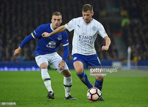Gerard Deulofeu of Everton closes down Marc Albrighton of Leicester City during the Emirates FA Cup third round match between Everton and Leicester...