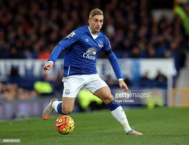Gerard Deulofeu of Everton during the Barclays Premier League match between Everton and Aston Villa at Goodison Park on November 21 2015 in Liverpool...