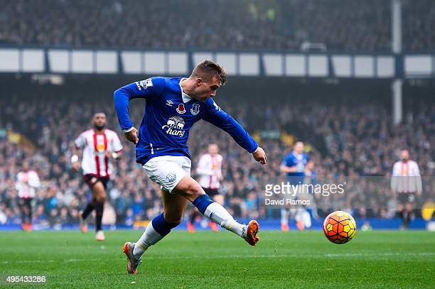 Gerard Deulofeu of Everton in actio during the Barclays Premier League match between Everton and Sunderland at Goodison Park on November 1 2015 in...