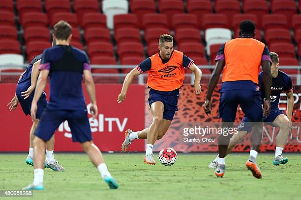 Gerard Deulofeu of Everton in action during a open training session ahead of the match between Everton and Stoke City during the 2015 Barclays Asia...