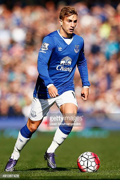 Gerard Deulofeu of Everton in action during the Barclays Premier League match between Everton and Liverpool at Goodison Park on October 4 2015 in...