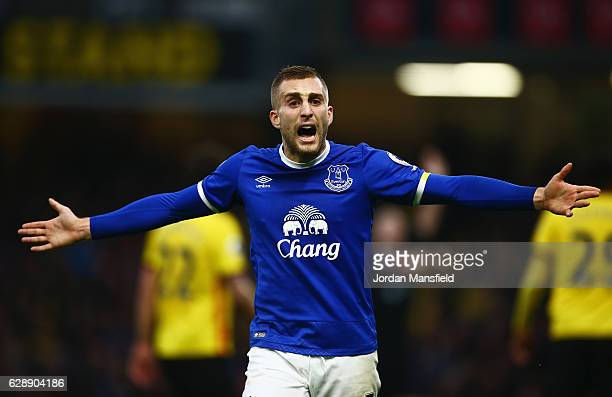 Gerard Deulofeu of Everton reacts during the Premier League match between Watford and Everton at Vicarage Road on December 10 2016 in Watford England