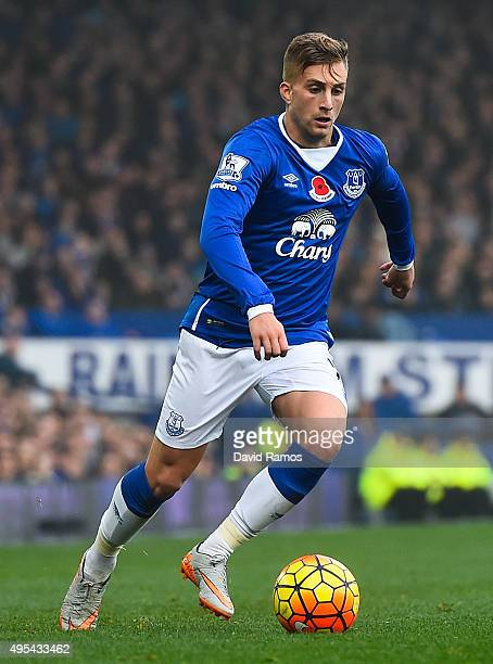 Gerard Deulofeu of Everton runs with the ball during the Barclays Premier League match between Everton and Sunderland at Goodison Park on November 1...