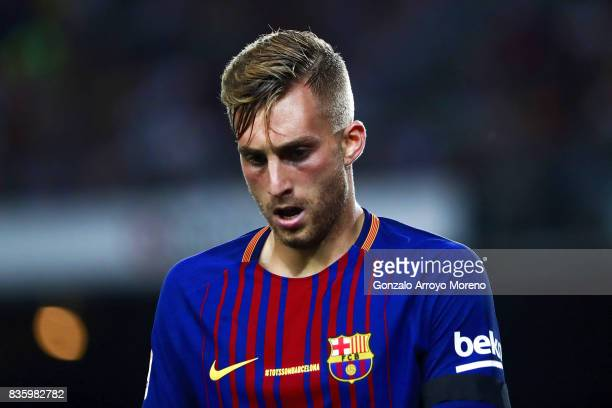 Gerard Deulofeu of FC Barcelona gestures during the La Liga match between FC Barcelona and Real Betis Balompie at Camp Nou stadium on August 20 2017...