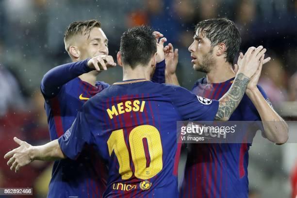 Gerard Deulofeu of FC Barcelona Lionel Messi of FC Barcelona Sergi Roberto of FC Barcelona during the UEFA Champions League group D match between FC...