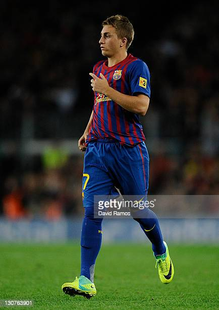 Gerard Deulofeu of FC Barcelona looks on during the La Lliga match between FC Barcelona and RCD mallorca at Camp Nou on October 29 2011 in Barcelona...
