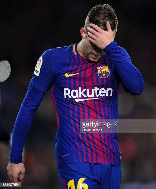 Gerard Deulofeu of FC Barcelona reacts during the Copa del Rey round of 32 second leg match between FC Barcelona and Real Murcia at Camp Nou on...
