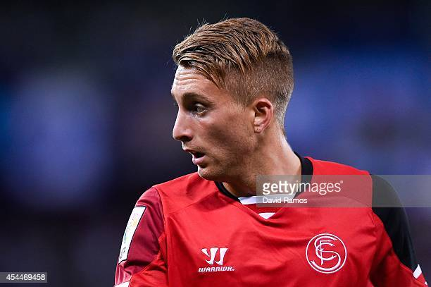 Gerard Deulofeu of Sevilla FC looks on during the La Liga Match between RCD Espanyol and Sevilla FC at CornellaEl Prat Stadium on August 30 2014 in...