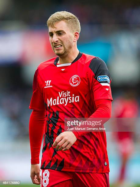 Gerard Deulofeu of Sevilla FC reacts during the La Liga match between Real Sociedad and Sevilla FC at Estadio Anoeta on February 22 2015 in San...