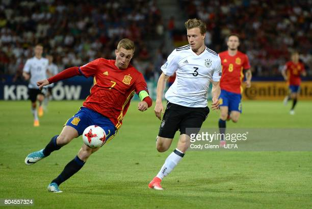 Gerard Deulofeu of Spain and Yannick Gerhardt of Germany during their UEFA European Under21 Championship 2017 final match on June 30 2017 in Krakow...