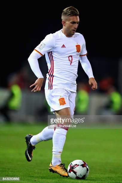 Gerard Deulofeu of Spain in action during the FIFA 2018 World Cup Qualifier between Liechtenstein and Spain at Rheinpark Stadion on September 5 2017...