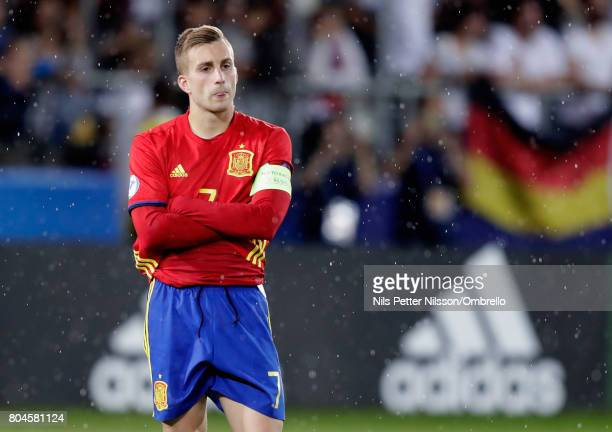Gerard Deulofeu of Spain is dejected after the UEFA European Under21 Championship Final between Germany and Spain at Krakow Stadium on June 30 2017...