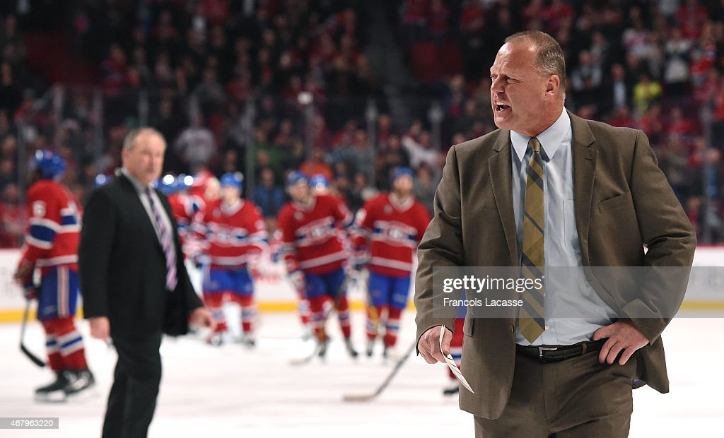 <a gi-track='captionPersonalityLinkClicked' href=/galleries/search?phrase=Gerard+Gallant&family=editorial&specificpeople=704668 ng-click='$event.stopPropagation()'>Gerard Gallant</a> of the Florida Panthers exchanges words with referee after the game against the Montreal Canadiens in the NHL game at the Bell Centre on March 28, 2015 in Montreal, Quebec, Canada.