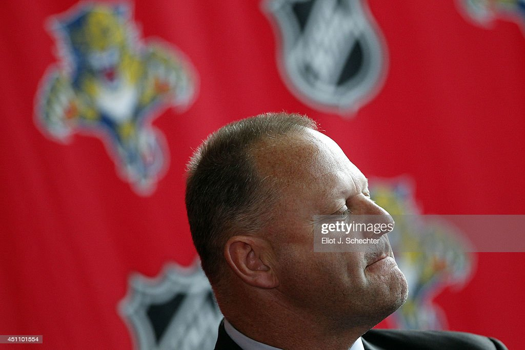 <a gi-track='captionPersonalityLinkClicked' href=/galleries/search?phrase=Gerard+Gallant&family=editorial&specificpeople=704668 ng-click='$event.stopPropagation()'>Gerard Gallant</a> speaks at a presser announcing him as Florida Panthers new head coach at the BB&T Center on June 23, 2014 in Sunrise, Florida.