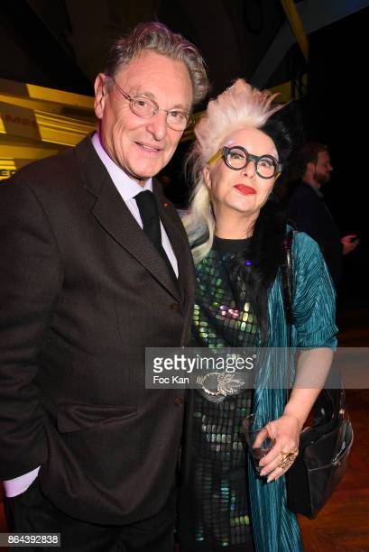 Gerard Garouste and Orlan attend the 'Bal Jaune Elastique 2017' Dinner Party at Palais Brongniart on October 20 2017 in Paris France