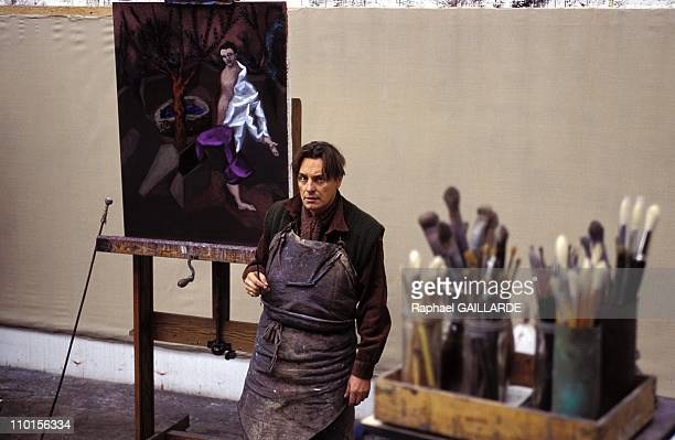 Gerard Garouste painter and sculptor in the painting studio in France in October 1995