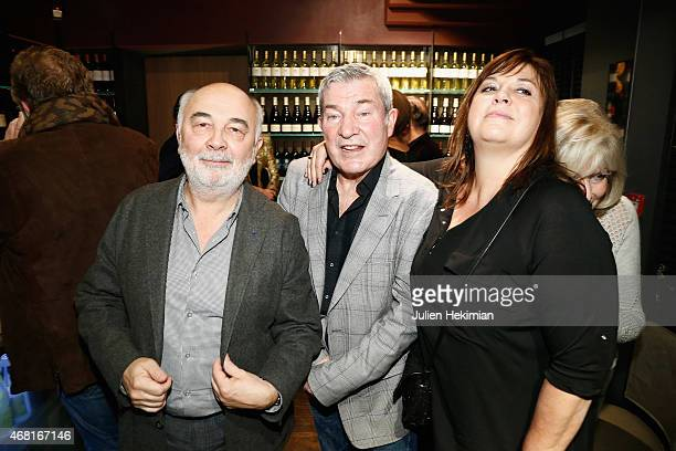 Gerard Jugnot Martin Lamotte and Michele Bernier attend 'L'Atelier Maitre Albert' Cocktail In Paris on March 30 2015 in Paris France