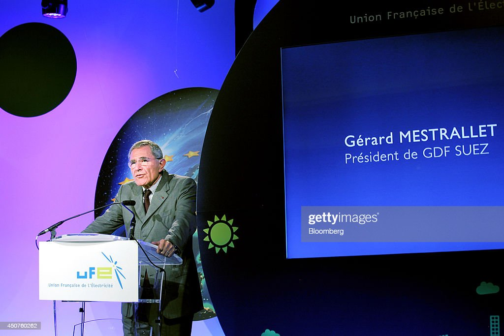 Gerard Mestrallet, chief executive officer of GDF Suez, stands at the podium and speaks at the annual symposium of the Union Francaise de L'Electicite (UFE) in Paris, France, on Tuesday, June 17, 2014. Key speakers spoke at the event headlined as the Low Carbon Strategy and Industrial Renaissance; two challenges for the Energy Tranmsition. Photographer: Kosuke Okahara/Bloomberg via Getty Images