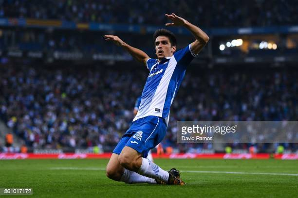 Gerard Moreno of RCD Espanyol celebrates after scoring a disallowed goal during the La Liga match between Espanyol and Levante at CornellaEl Prat...