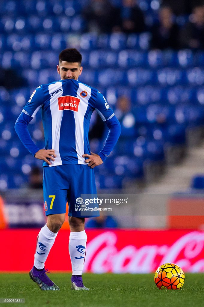 Gerard Moreno of RCD Espanyol looks dejected after Mikel Oyarzabal of Real Sociedad de Futbol scored his team's third goal during the La Liga match between RCD Espanyol and Real Sociedad de Futbol at Cornella-El Prat Stadium on February 8, 2016 in Barcelona, Spain.