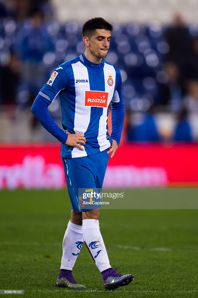 Gerard Moreno of RCD Espanyol looks dejected after the La Liga match between RCD Espanyol and Real Sociedad de Futbol at Cornella-El Prat Stadium on February 8, 2016 in Barcelona, Spain.