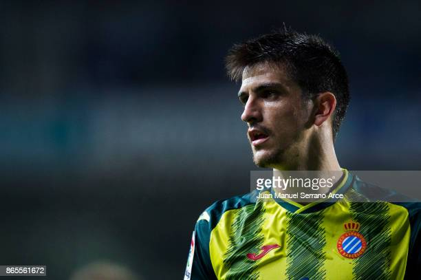 Gerard Moreno of RCD Espanyol reacts during the La Liga match between Real Sociedad de Futbol and RCD Espanyol at Estadio Anoeta on October 23 2017...
