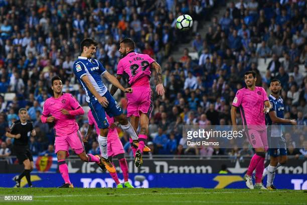 Gerard Moreno of RCD Espanyol scores a disallowed goal during the La Liga match between Espanyol and Levante at CornellaEl Prat stadium on October 13...