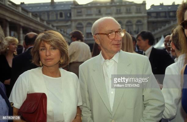 Gerard Oury avec sa fille Daniele Thompson a la Fete du cinema au ministere de la Culture le 28 juin 1994 a Paris France