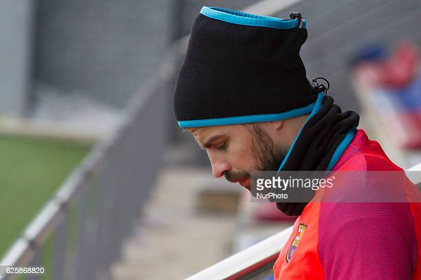 Gerard Piqué during the FC Barcelona's training session before the match agasint Real Sociedad on November 26 in FC Barcelona's Sport Center