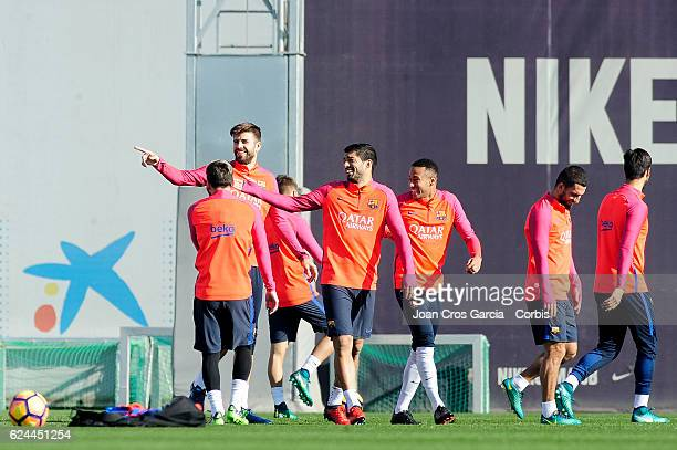 Gerard Piqué Luis Suárez and Neymar Jr jogging during the training session at the Sports Center FC Barcelona Joan Gamper before the Spanish League...