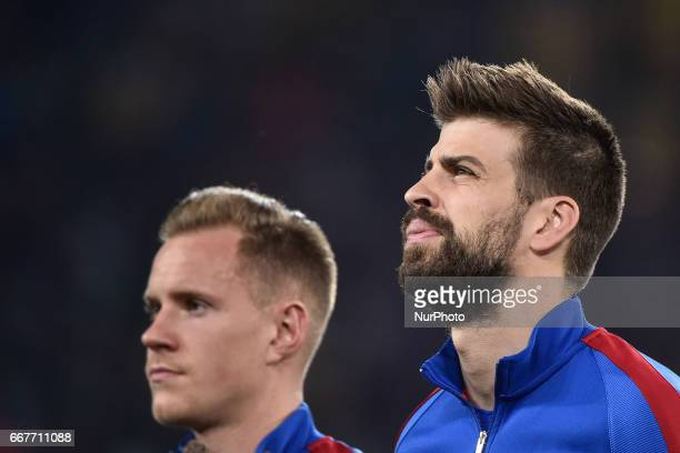 Gerard Piqué of FC Barcelona during the UEFA Champions League quarter final match between Juventus and Barcelona at the Juventus Stadium Turin Italy...