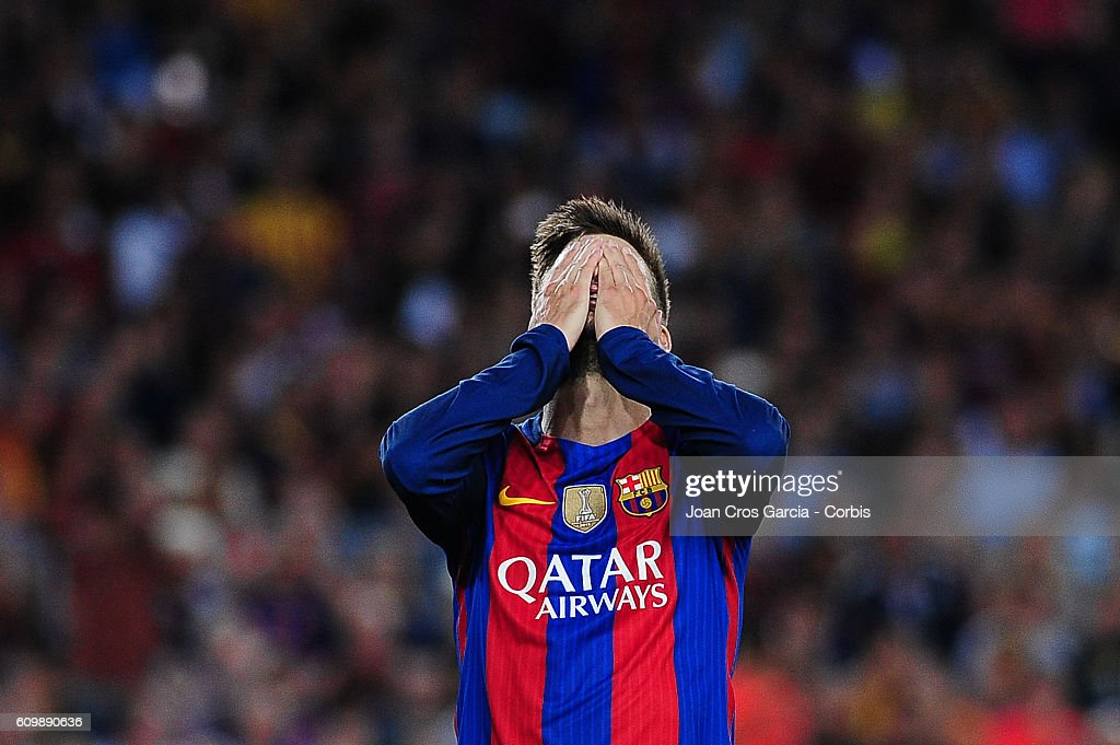 Gerard Piqué of FC Barcelona reacts during the Spanish League match between FC Barcelona vs Club Atlético de Madrid at Camp Nou Stadium, on September 21, 2016 in Barcelona, Spain.