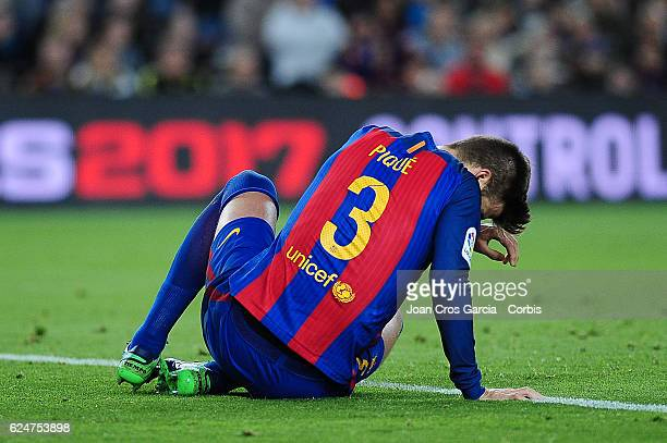 Gerard Piqué of FC Barcelona reacts during the Spanish League match between FC Barcelona vs Malaga CF at Camp Nou Stadium on November 19 2016 in...
