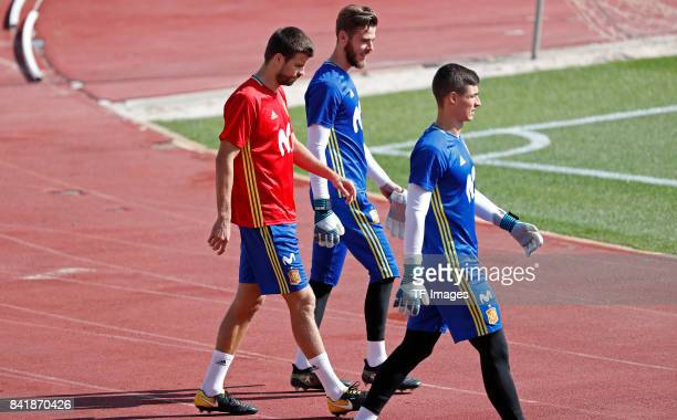 Gerard Piqué of Spain David De Gea of Spain and Kepa of Spain looks on during a training session on August 31 2017 in Madrid Spain