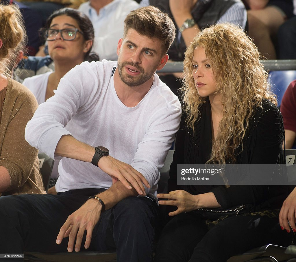 Gerard Pique FC Barcelona football player and his partner colombian singer Shakira attend the 20142015 Turkish Airlines Euroleague Basketball Play...